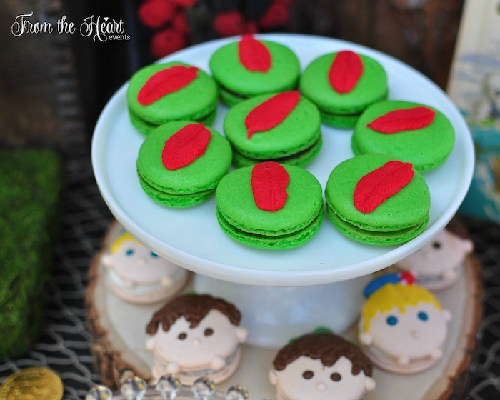 Peter Pan macarons from a Neverland Birthday Party on Kara's Party Ideas | KarasPartyIdeas.com (17)