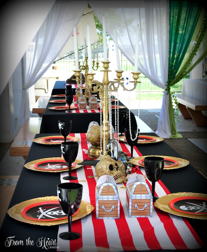Hook's party table from a Neverland Birthday Party on Kara's Party Ideas | KarasPartyIdeas.com (50)