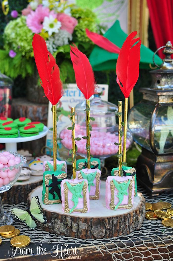 Ricke Krispie Treats with feather sticks from a Neverland Birthday Party on Kara's Party Ideas | KarasPartyIdeas.com (13)