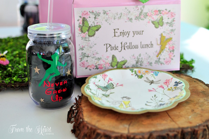 Fairy + Tinkerbell place setting from a Neverland Birthday Party on Kara's Party Ideas | KarasPartyIdeas.com (12)