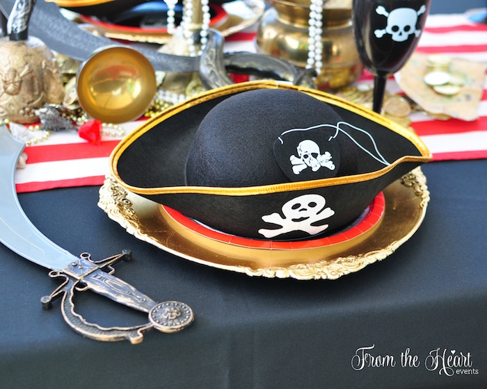 Pirate place setting from a Neverland Birthday Party on Kara's Party Ideas   KarasPartyIdeas.com (11)