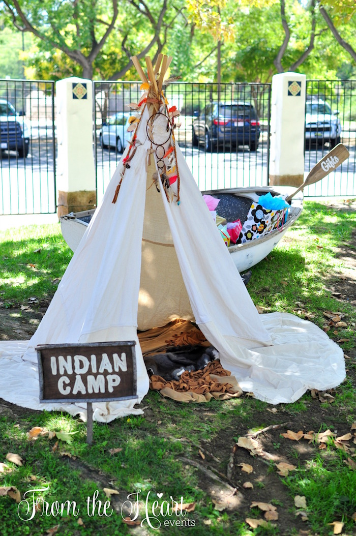Indian Camp from a Neverland Birthday Party on Kara's Party Ideas | KarasPartyIdeas.com (10)