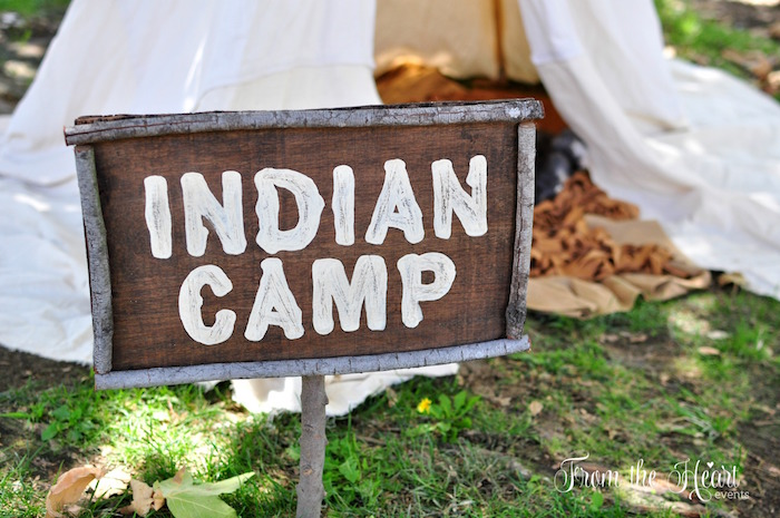 Indian Camp Signage from a Neverland Birthday Party on Kara's Party Ideas | KarasPartyIdeas.com (9)