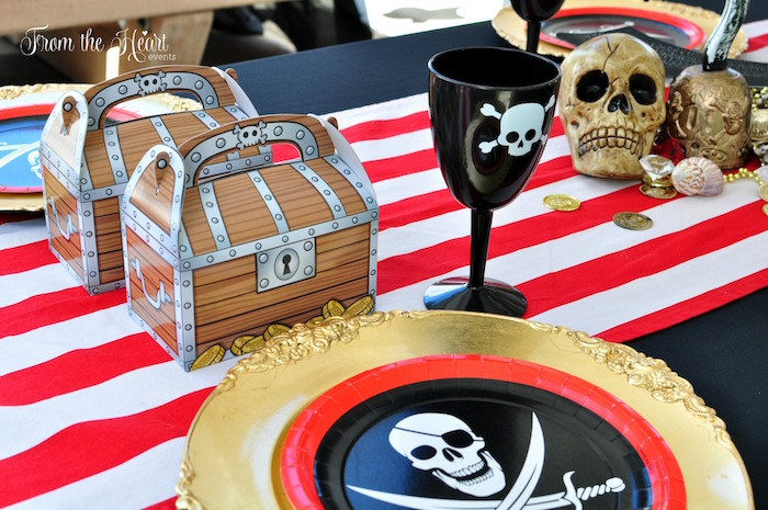 Pirate place setting from a Neverland Birthday Party on Kara's Party Ideas | KarasPartyIdeas.com (49)