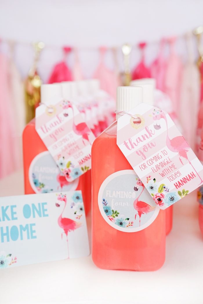 Bubble bath favors from a Pink Flamingo Birthday Party on Kara's Party Ideas | KarasPartyIdeas.com (13)