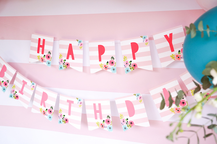 Happy Birthday Banner from a Pink Flamingo Birthday Party on Kara's Party Ideas | KarasPartyIdeas.com (12)