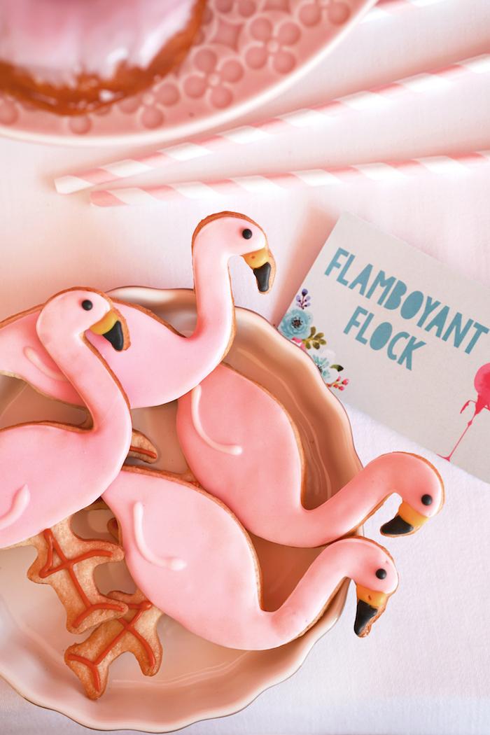 Flamingo Flock Cookies from a Pink Flamingo Birthday Party on Kara's Party Ideas | KarasPartyIdeas.com (11)