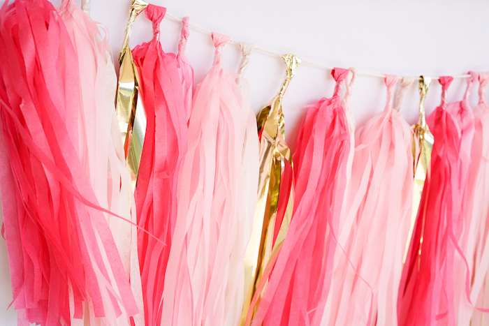 Tissue tassel garland from a Pink Flamingo Birthday Party on Kara's Party Ideas | KarasPartyIdeas.com (9)