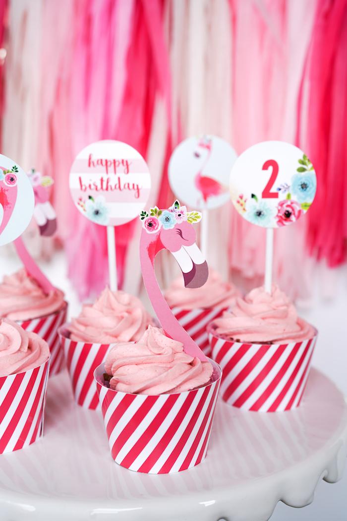 Flamingo cupcakes from a Pink Flamingo Birthday Party on Kara's Party Ideas | KarasPartyIdeas.com (25)