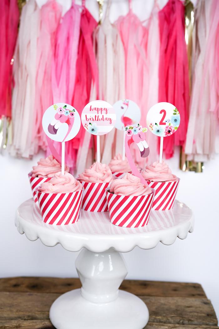 Cupcakes from a Pink Flamingo Birthday Party on Kara's Party Ideas | KarasPartyIdeas.com (6)