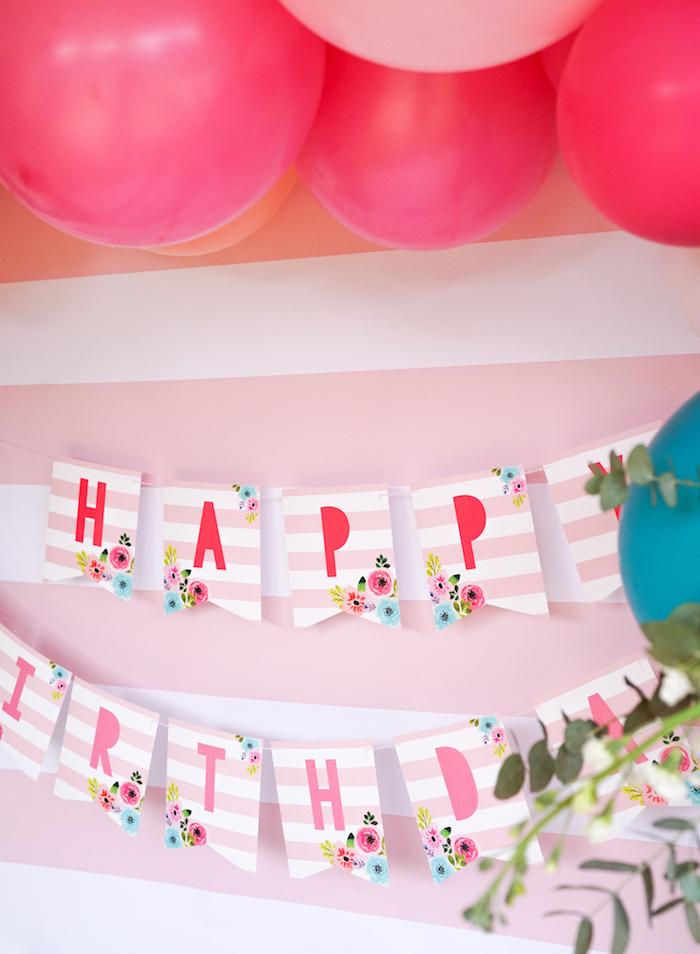 Happy Birthday Banner from a Pink Flamingo Birthday Party on Kara's Party Ideas | KarasPartyIdeas.com (24)