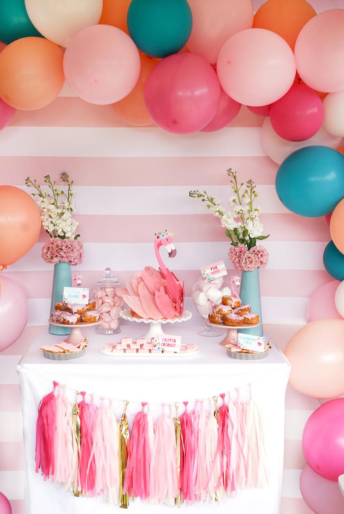 Flamingo dessert table from a Pink Flamingo Birthday Party on Kara's Party Ideas | KarasPartyIdeas.com (22)