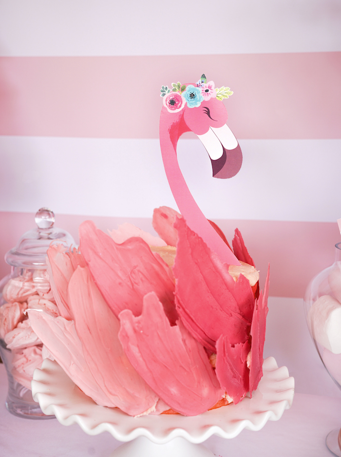 Gorgeous pink ombre Flamingo Cake from a Pink Flamingo Birthday Party on Kara's Party Ideas | KarasPartyIdeas.com (21)