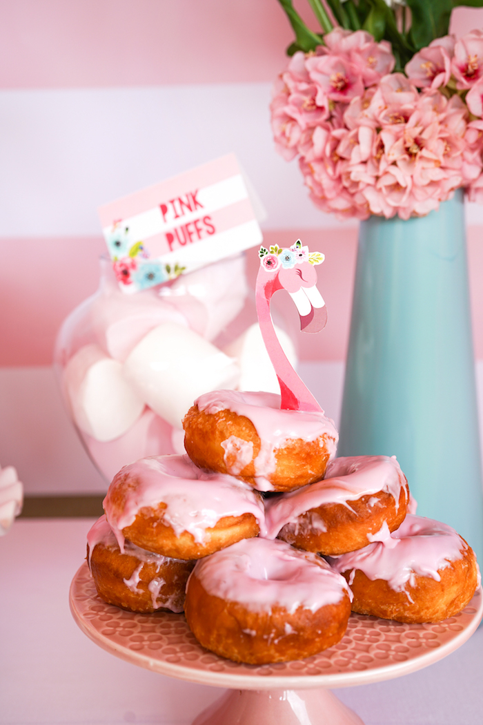 Flamingo doughnuts from a Pink Flamingo Birthday Party on Kara's Party Ideas | KarasPartyIdeas.com (20)