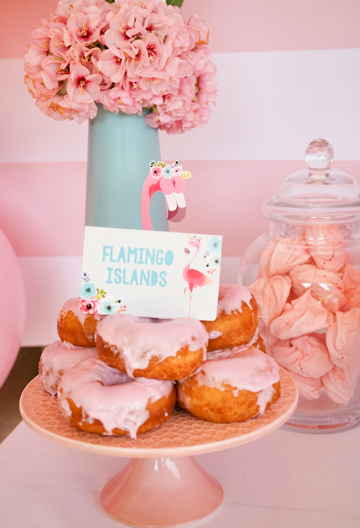 Flamingo doughnuts from a Pink Flamingo Birthday Party on Kara's Party Ideas | KarasPartyIdeas.com (19)