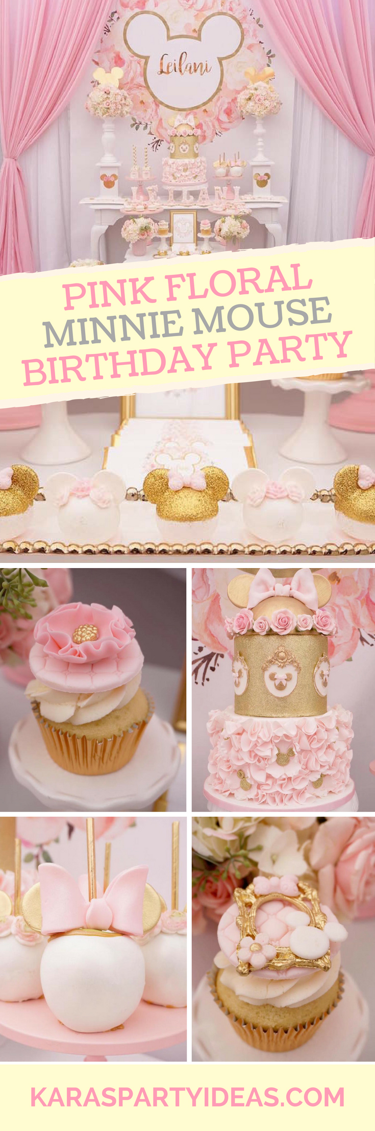 Pink Floral Minnie Mouse Birthday Party via Kara's Party Ideas - KarasPartyIdeas.com