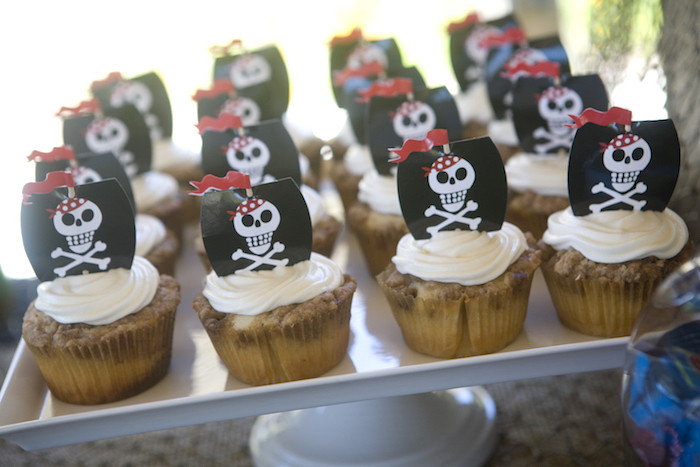 Pirate Cupcakes from a Misty Cove Pirate Birthday Party via Kara's Party Ideas | KarasPartyIdeas.com