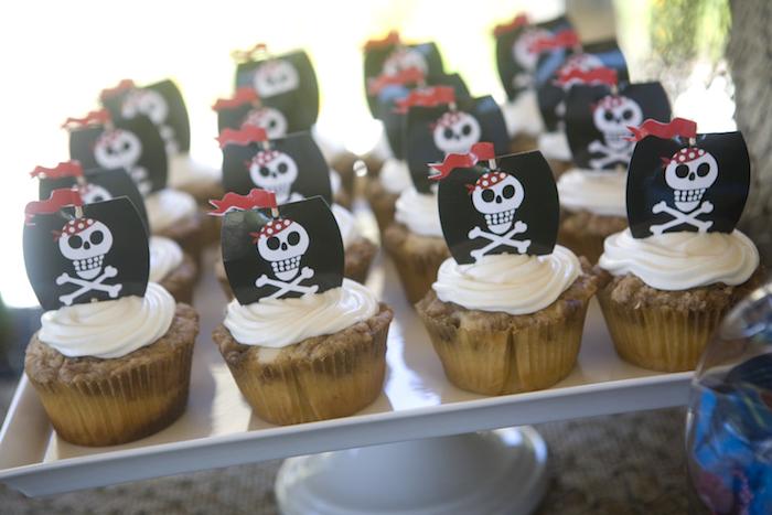 Pirate Cupcakes from a Misty Cove Pirate Birthday Party via Kara's Party Ideas | KarasPartyIdeas.com