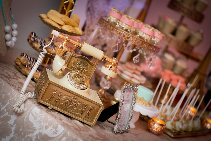 Vintage phone from a Queen Marie Antoinette 30th Birthday Party on Kara's Party Ideas | KarasPartyIdeas.com (12)