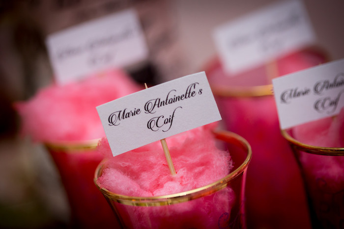 Cotton candy cups from a Queen Marie Antoinette 30th Birthday Party on Kara's Party Ideas | KarasPartyIdeas.com (11)