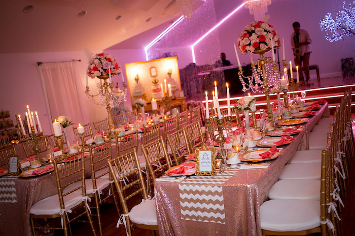 Guest tables from a Queen Marie Antoinette 30th Birthday Party on Kara's Party Ideas | KarasPartyIdeas.com (7)