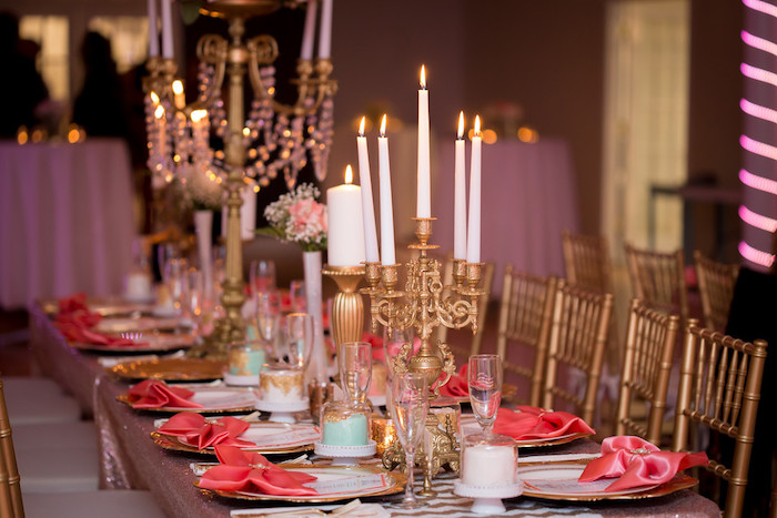Guest table from a Queen Marie Antoinette 30th Birthday Party on Kara's Party Ideas | KarasPartyIdeas.com (24)