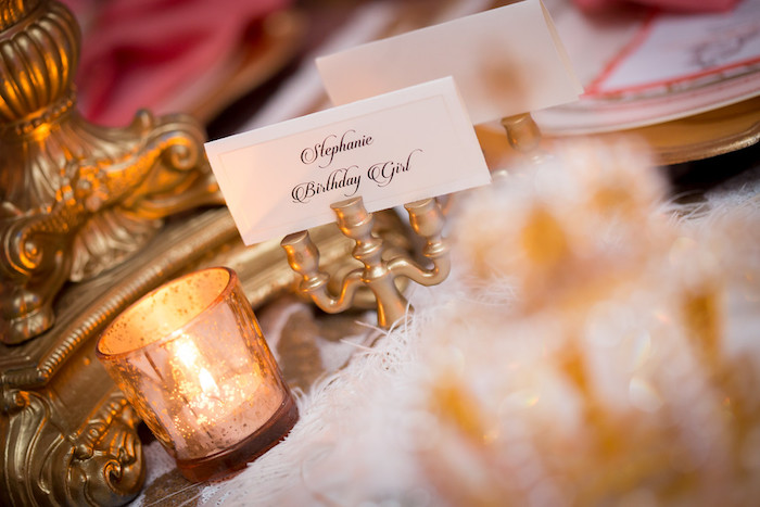 Candleabra name card holder from a Queen Marie Antoinette 30th Birthday Party on Kara's Party Ideas | KarasPartyIdeas.com (22)