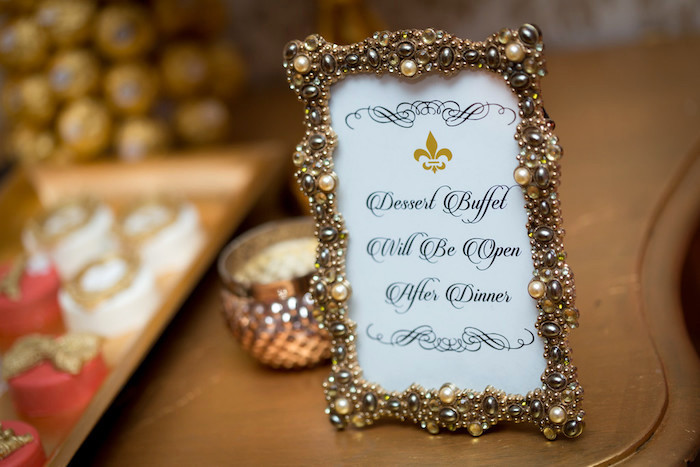 Ornate signage from a Queen Marie Antoinette 30th Birthday Party on Kara's Party Ideas | KarasPartyIdeas.com (21)