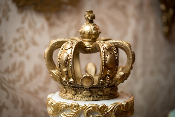 Crown cake topper from a Queen Marie Antoinette 30th Birthday Party on Kara's Party Ideas   KarasPartyIdeas.com (20)