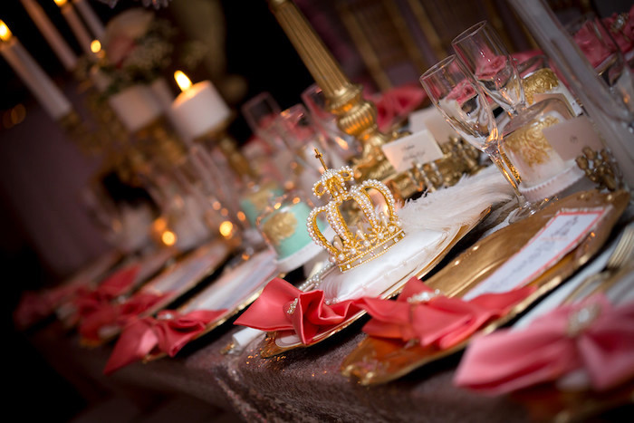 Guest tablescape + place settings from a Queen Marie Antoinette 30th Birthday Party on Kara's Party Ideas | KarasPartyIdeas.com (18)