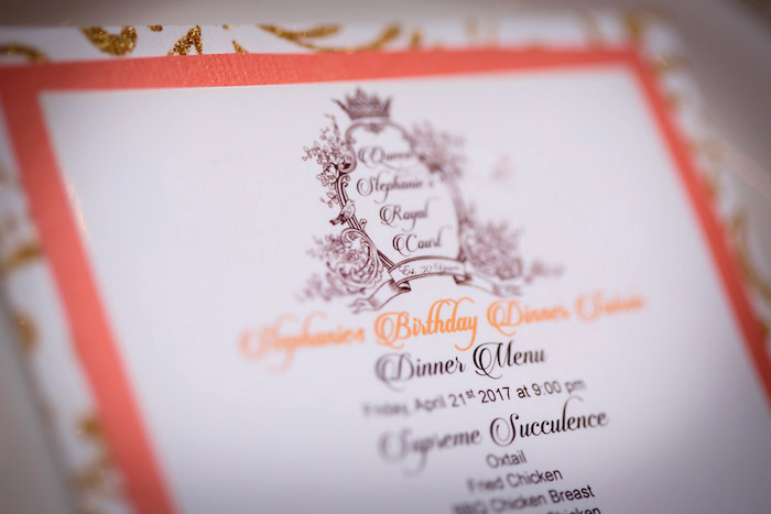 Dinner Menu Card from a Queen Marie Antoinette 30th Birthday Party on Kara's Party Ideas | KarasPartyIdeas.com (17)