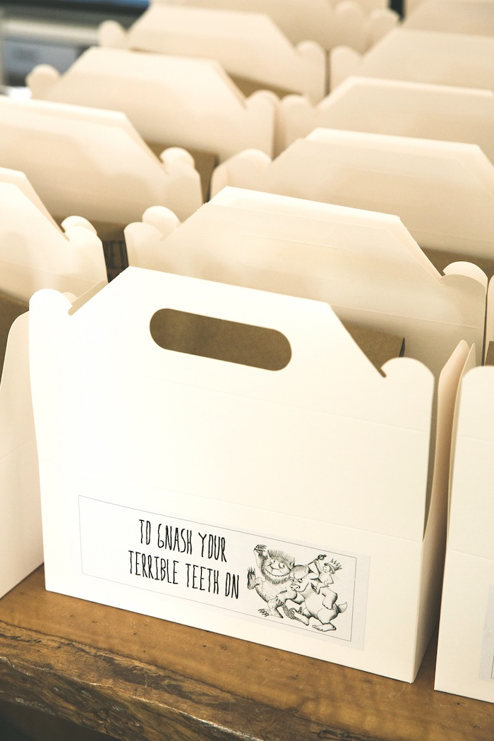 Gable lunch box from a Rustic Where the Wild Things Are Birthday Party on Kara's Party Ideas | KarasPartyIdeas.com