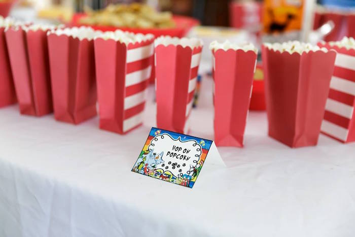 """Hop On"" Popcorn from a Seussville Birthday Party on Kara's Party Ideas 