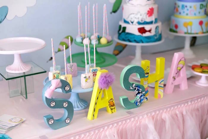 Dr. Seuss Name Letters from a Seussville Birthday Party on Kara's Party Ideas | KarasPartyIdeas.com (20)
