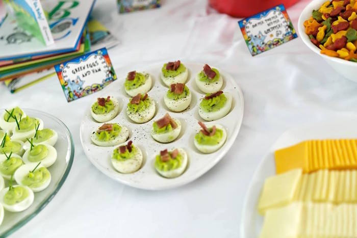 Green Eggs & Ham deviled eggs from a Seussville Birthday Party on Kara's Party Ideas | KarasPartyIdeas.com (15)