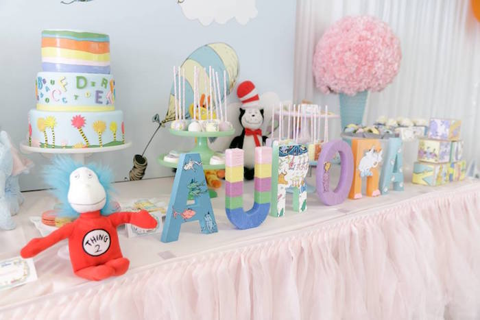 Dr. Seuss Letter Banner from a Seussville Birthday Party on Kara's Party Ideas | KarasPartyIdeas.com (13)