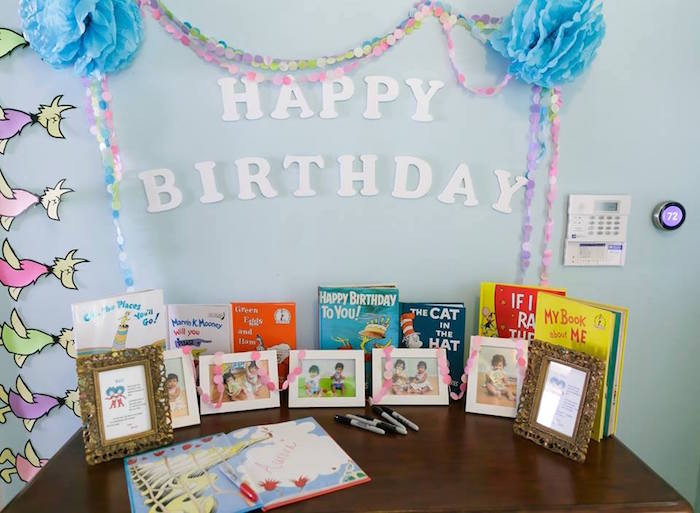 Welcome table from a Seussville Birthday Party on Kara's Party Ideas | KarasPartyIdeas.com (8)