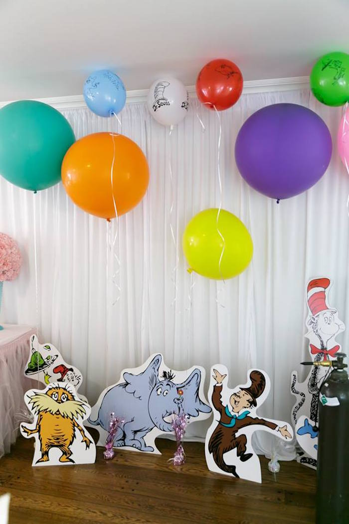Balloons and standees from a Seussville Birthday Party on Kara's Party Ideas | KarasPartyIdeas.com (4)