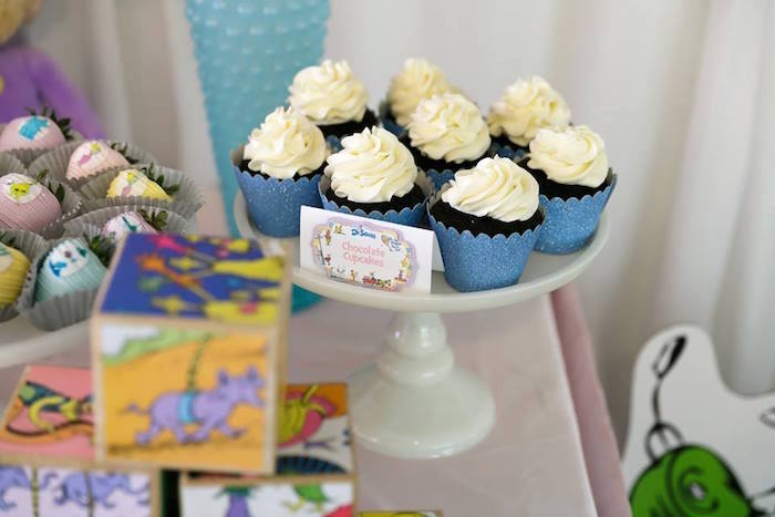 Chocolate cupcakes from a Seussville Birthday Party on Kara's Party Ideas | KarasPartyIdeas.com (3)
