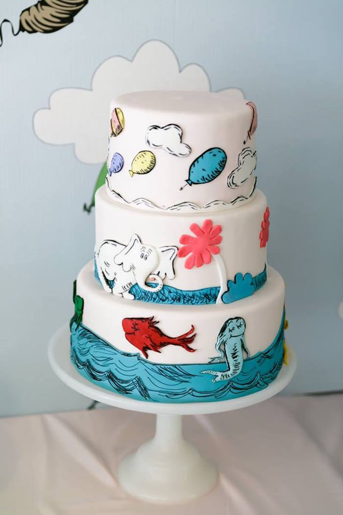 Dr. Seuss Cake from a Seussville Birthday Party on Kara's Party Ideas | KarasPartyIdeas.com (28)