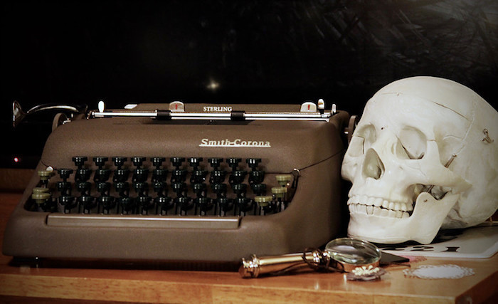 Vintage typewriter and skull from a Sherlock Holmes Murder Mystery Party on Kara's Party Ideas | KarasPartyIdeas.com (3)