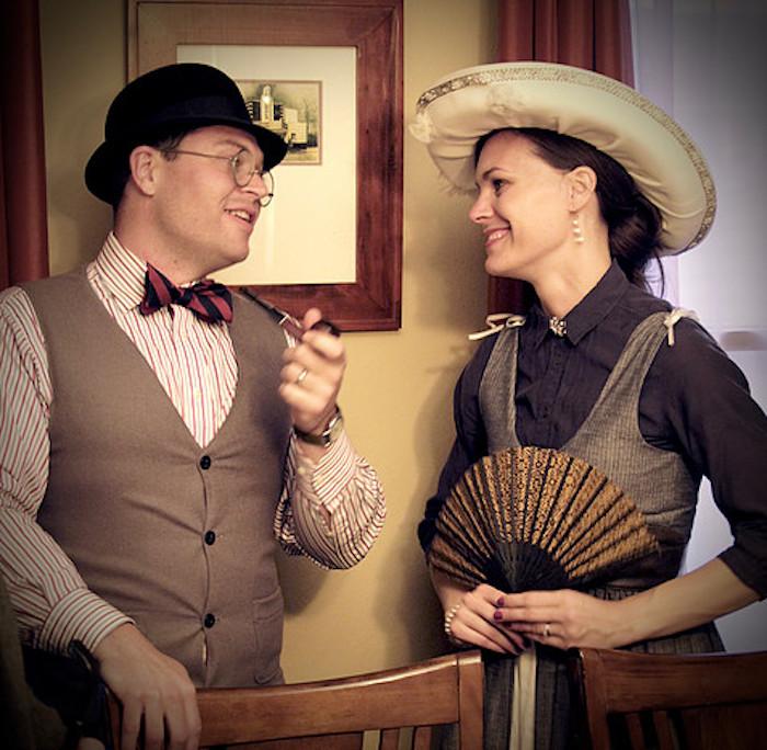 Mr. Newcombover & Lady Murdoch from a Sherlock Holmes Murder Mystery Party on Kara's Party Ideas | KarasPartyIdeas.com (11)