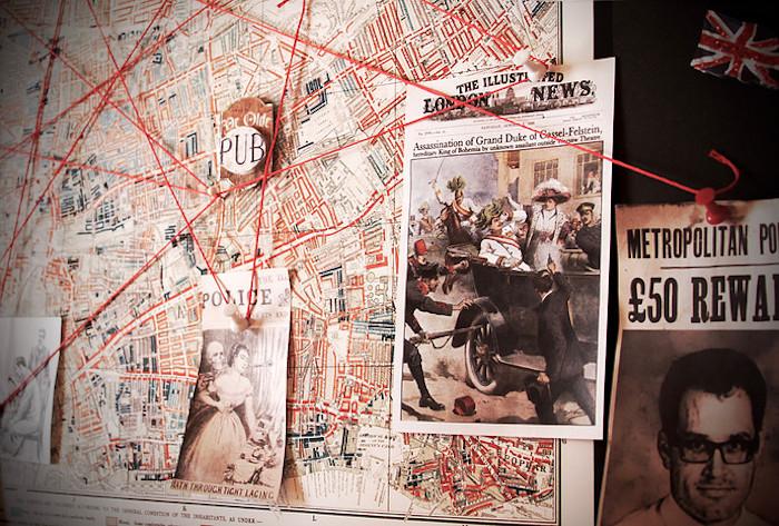 Crime Board from a Sherlock Holmes Murder Mystery Party on Kara's Party Ideas | KarasPartyIdeas.com (8)