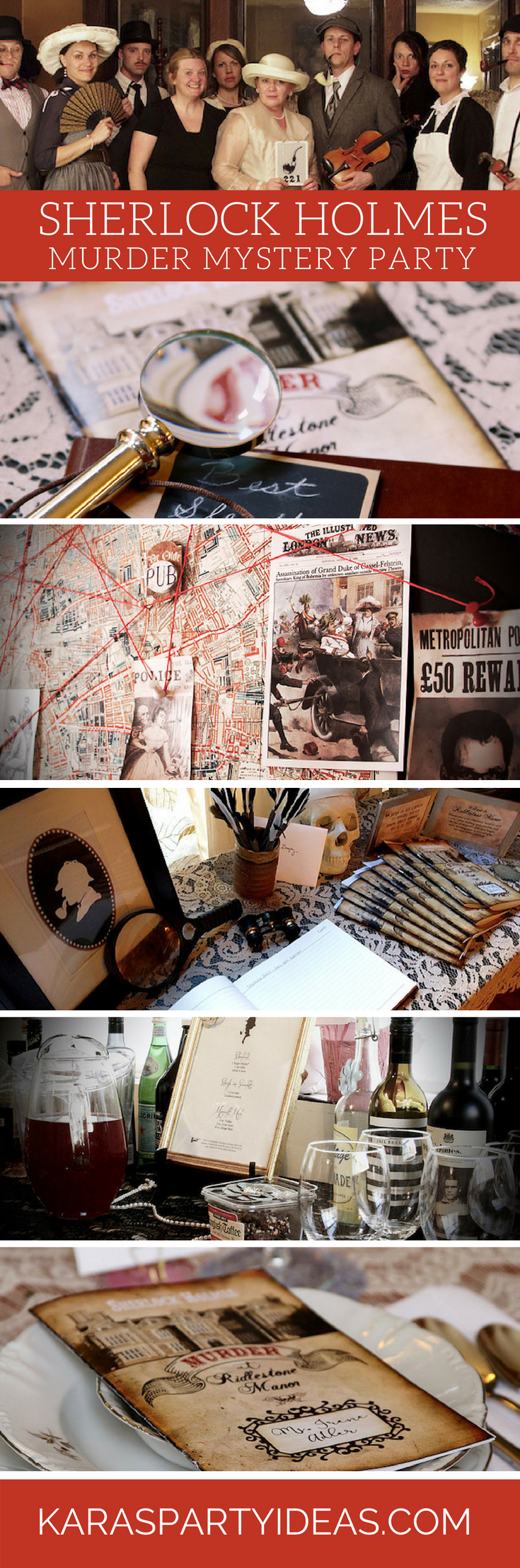 Sherlock Holmes Murder Mystery Party via Kara's Party Ideas - KarasPartyIdeas.com