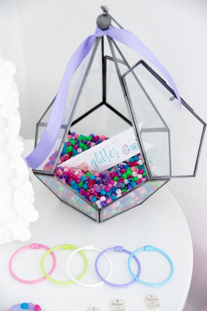 "Gem terrarium + bead bracelet activity from a Shiny Pastel ""She's a Gem"" Birthday Party on Kara's Party Ideas | KarasPartyIdeas.com (32)"