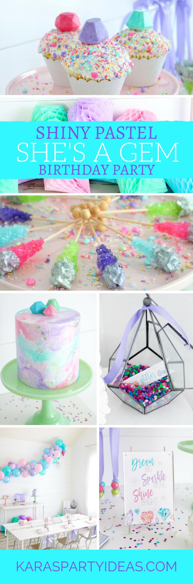 Shiny Pastel She's a Gem Birthday Party via Kara's Party Ideas - KarasPartyIdeas.com