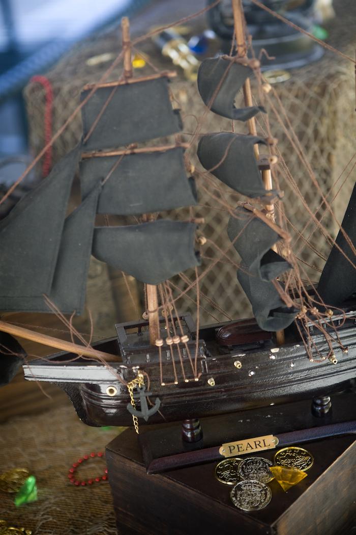 Ship from a Misty Cove Pirate Birthday Party via Kara's Party Ideas | KarasPartyIdeas.com