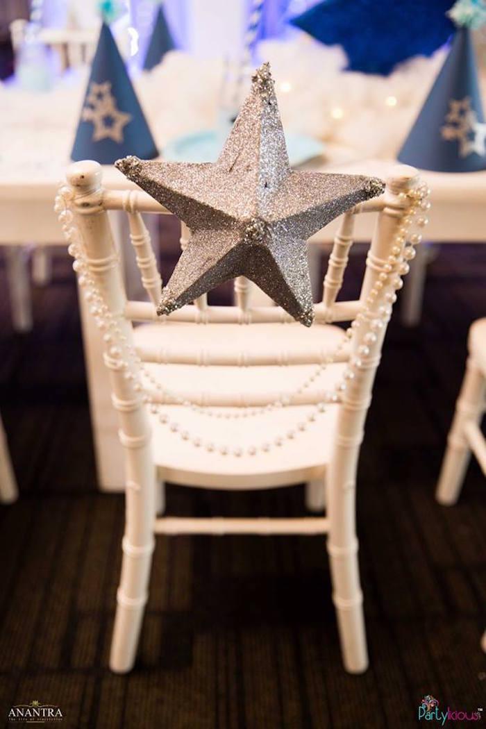 Star studded chair from a Stars and Moon Birthday Party on Kara's Party Ideas | KarasPartyIdeas.com (15)