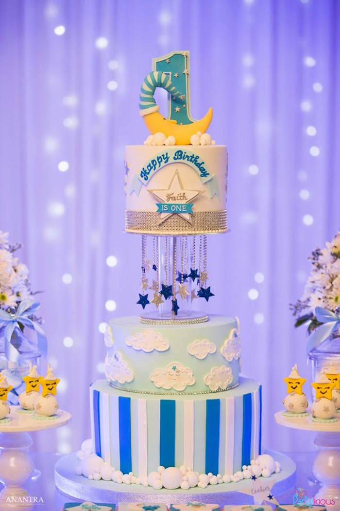 Night Sky Cake from a Stars and Moon Birthday Party on Kara's Party Ideas | KarasPartyIdeas.com (14)