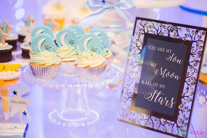 Moon cupcakes from a Stars and Moon Birthday Party on Kara's Party Ideas | KarasPartyIdeas.com (13)